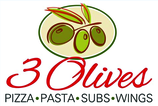3 Olives Pizza Enjoy one FREE PIZZA when a second PIZZA of equal or greater value is purchased